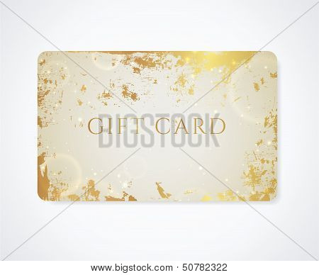 Golden Gift card / Business card / Discount card with grunge pattern