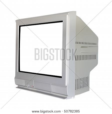 Side analog cathode ray tube television on white background.