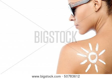 Young Woman With Sun Tan Lotion