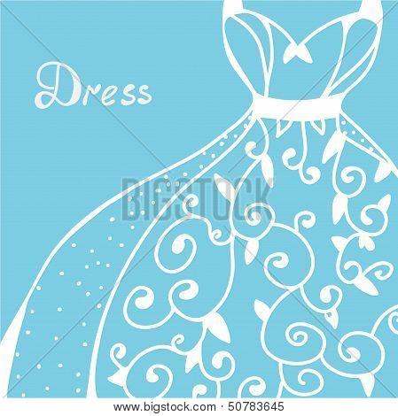 Wedding invitation with dress