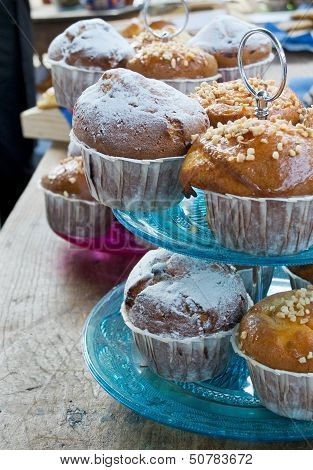 Muffins In A Vintage Tier Cake Stand.