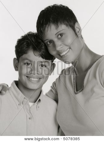 Black And White Portrait Of Mother Son