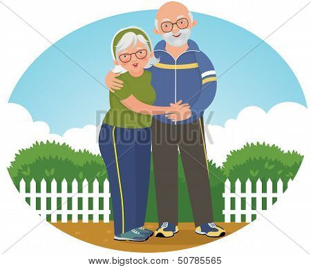 Old Couple In Track Suits