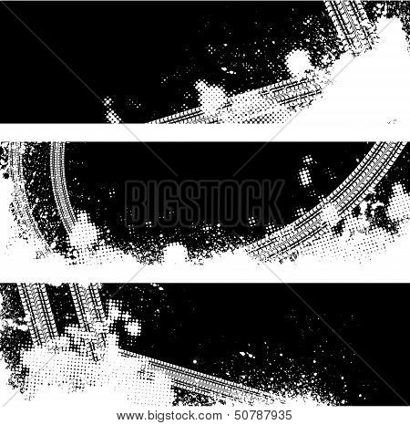 Black tire track banners