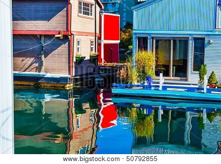 Floating Home Village Red Blue Brown Houseboats Fisherman's Wharf Reflection Inner Harbor, Victoria
