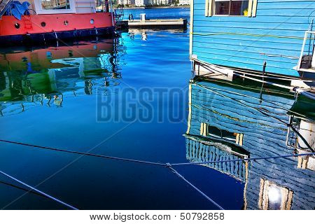 Reflections Blue Floating Home Village Houseboats Fisherman's Wharf Reflection Inner Harbor, Victori