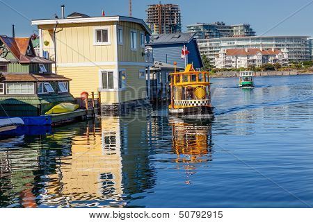 Floating Home Village Water Taxis Blue Houseboats Fisherman's Wharf Reflection Inner Harbor, Victori