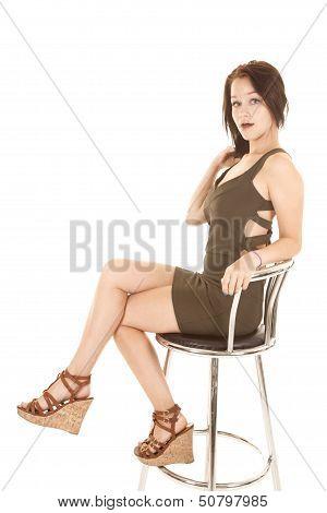 Sit Stool Girl In Green Dress