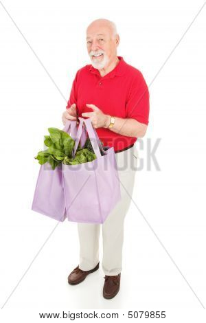 Senior Man Shops Green