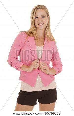Woman Pink Jacket Facing Smile