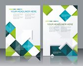 stock photo of brochure  - Vector brochure template design with cubes and arrows elements - JPG