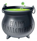 stock photo of witches cauldron  - Cartoon Halloween witch - JPG