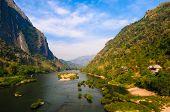 image of ou  - Nong khiaw riverZview from bridge - JPG