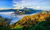 stock photo of bromo  - Bromo volcano at sunriseTengger Semeru national park East Java Indonesia - JPG