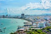 stock photo of landscape architecture  - Beautiful gulf and city landscape of Pattaya Thailand - JPG