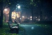 stock photo of bench  - A Night in the Park - JPG