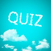 stock photo of quiz  - quiz cloud cloud icon with design on blue sky background - JPG