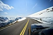 stock photo of snowy-road  - Riding Colorado Mountain Road - JPG
