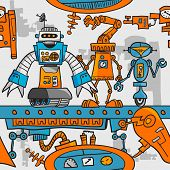 picture of assembly line  - Seamless pattern cartoon robots on the assembly line - JPG