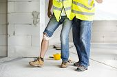 image of personal safety  - Construction worker has an accident while working on new house - JPG