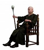 stock photo of throne  - Warlock with magic staff seated on his throne - JPG