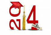 stock photo of tassels  - Red hat and gold tassel with diploma on white for class of 2014 - JPG