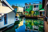 Floating Home Village Green Brown Houseboats Fisherman's Wharf Reflection Inner Harbor, Victoria Van