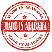 picture of alabama  - Grunge rubber stamp with text Made in Alabama - JPG