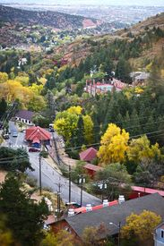 image of track home  - Part of Manitou Springs Colorado - Bird View. The City of Manitou Springs is a Home Rule Municipality Located in El Paso County Colorado United States. ** Note: Slight blurriness, best at smaller sizes - JPG