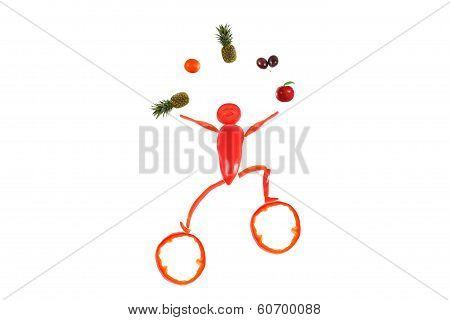 Healthy Eating. Little Funny Juggler Made ??of Pepper.