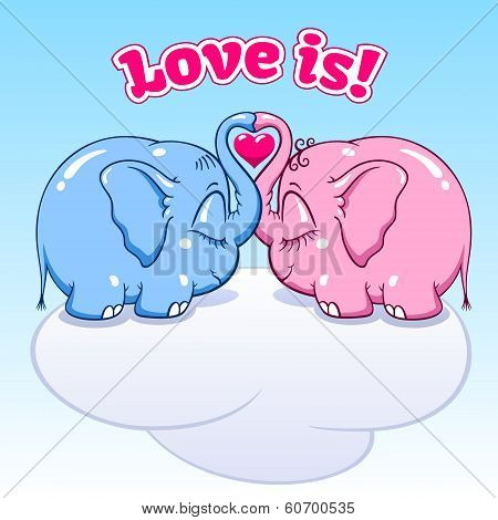 baby elephant in love on the cloud