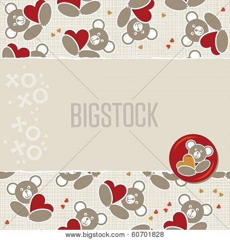 teddy bear seamless pattern with horizontal torn paper