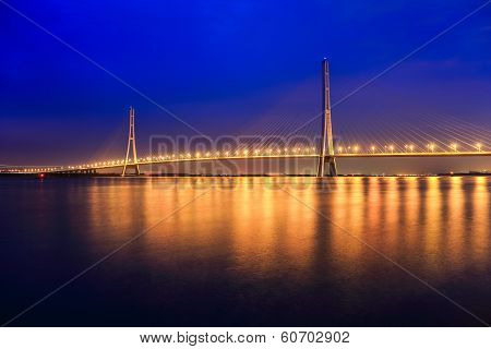 Beautiful Nanjing Cable Stayed Bridge At Night