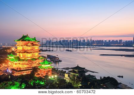 Beautiful Nanchang Tengwang Pavilion In Sunset