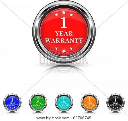 1 Year Warranty Icon - Six Colors Vector Set
