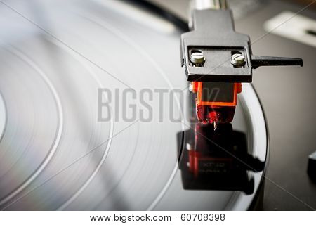 Vintage Close Up Shot Of A Simple Phono Player