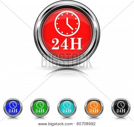24H Clock Icon - Six Colors Vector Set