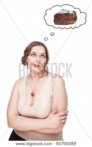 Beautiful Plus Size Woman Thinking About Unhealthy Food