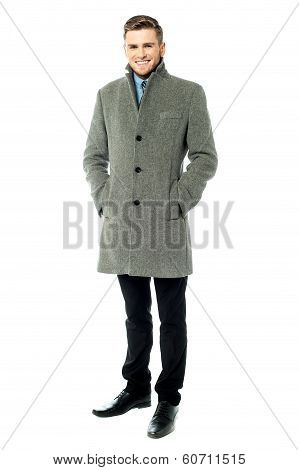 Corporate Guy Wearing Long Overcoat