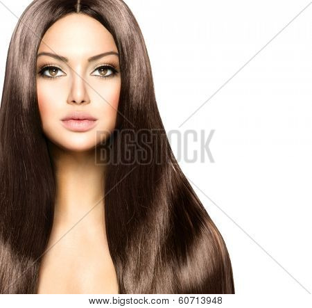 Hair. Beauty Woman with Long Healthy and Shiny Smooth Brown Hair. Model Brunette Girl Portrait over white background. Hair Extensions