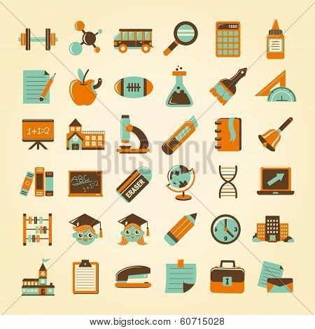 Retro Education Icons Set,back To School