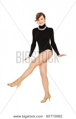A picture of a cabaret dancer posing over white background