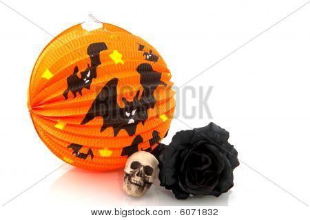 Halloween Lantern And Black Rose