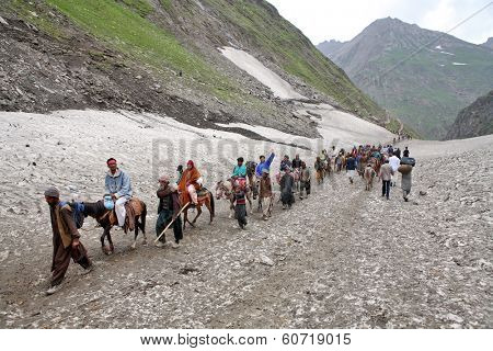 AMARNATH, JAMMU AND KASHMIR, INDIA - JULY 18, 2006: Pilgrimage to the holy Amarnath cave in Kashmir Himalayas