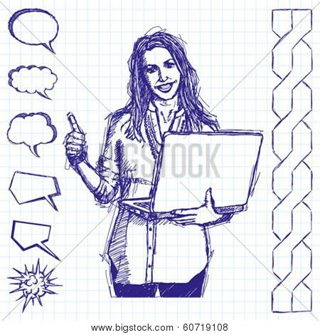 Vector sketch, comics style businesswoman with laptop shows well done