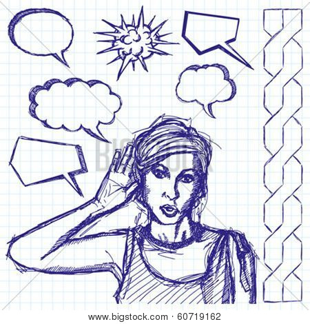 Vector sketch, comics style female overhearing something with her ear and hand