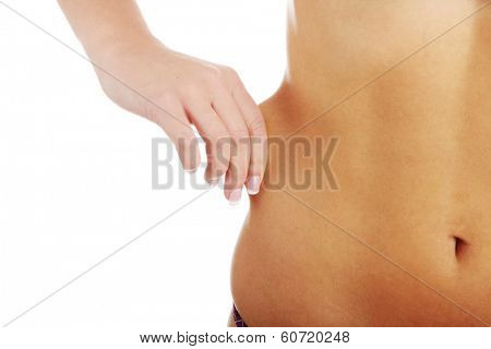 Woman's Fingers Touching her body parts, isolated on white background