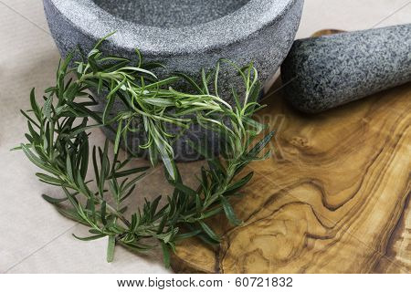 Mortar with Stösel of stone and heart of rosemary