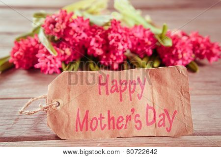Hyacinths And A Card With Text Happy Mother's Day