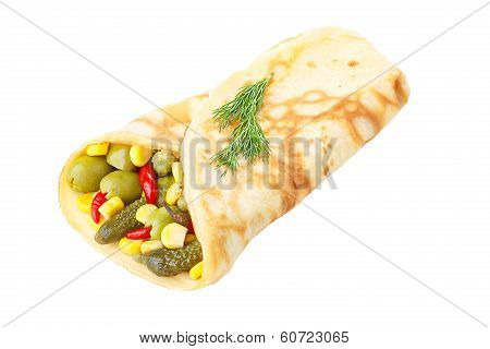 Vegetarian Crepe Stuffed With Pickled Vegetables
